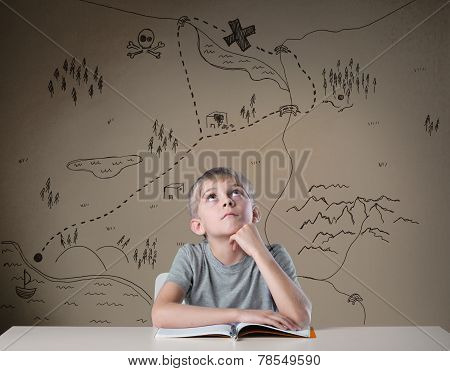 Little kid thinking about treasure map from his adventure book poster