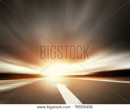 Conceptual image of asphalt road and direction arrow poster
