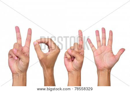 man hands forming the number 2015, as the new year, on a white background