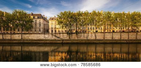 Quiet Summer Morning By The River Seine, Paris, France