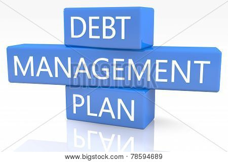 3d render blue box with text Debt Management Plan on it on white background with reflection poster