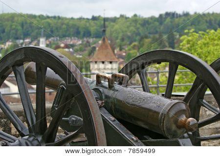Medieval Cannon To Fire Nuclei. Switzerland, City Stein Am Rheine
