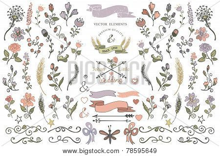 Colored Doodles Borders,ribbons,floral Decor Element.eps