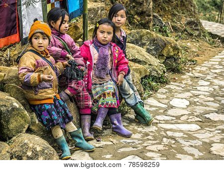 Gang Of Four Young Girls Wait Along The Road.