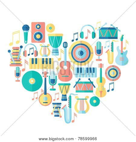Silhouette heart with musical instruments