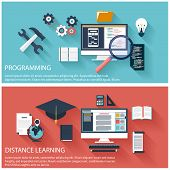 Flat design concept of program coding laptop. Concept for online education, distance learning, creative thinking, innovations with computer poster