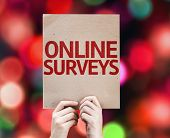 Online Surveys card with colorful background with defocused lights poster