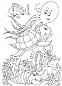 Black-and-white illustration for a coloring book: sea animals on a sea-bed poster