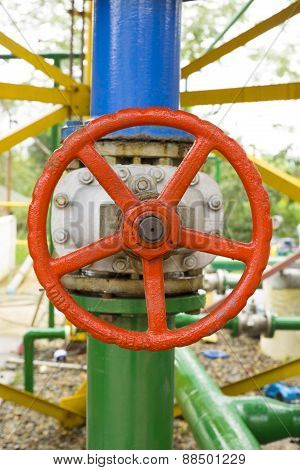 Red Valve On The Pipeline