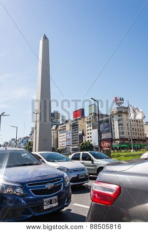 Buenos Aires, Argentina - April 9, 2015: Traffic Jam 9 De Julio Avenue Down The Street At Iconic Bui