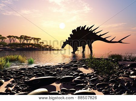Dinosaur on the shore of the island.