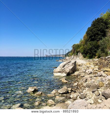 A sunny day in a Stunning Naturist Beach in Trieste Italy