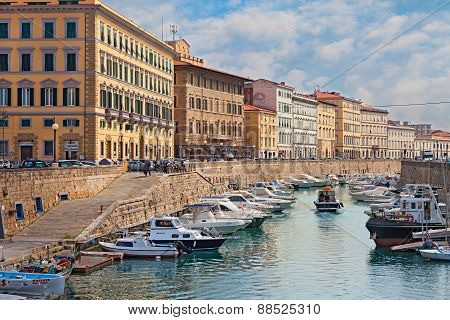 Canal With Boats In Livorno, Tuscany, Italy