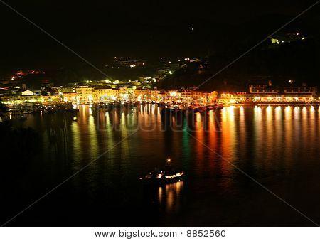City lights of Porto Azzurro on the island of Elba Italy poster