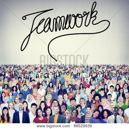 Teamwork Team Collaboration Support Member Unity Concept poster