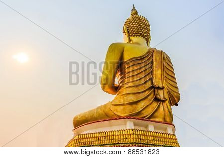 Big Golden Buddha statue in Thailand temple