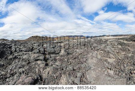 Inhospitable dramatic volcanic landscape at Krafla geothermal area, Iceland poster