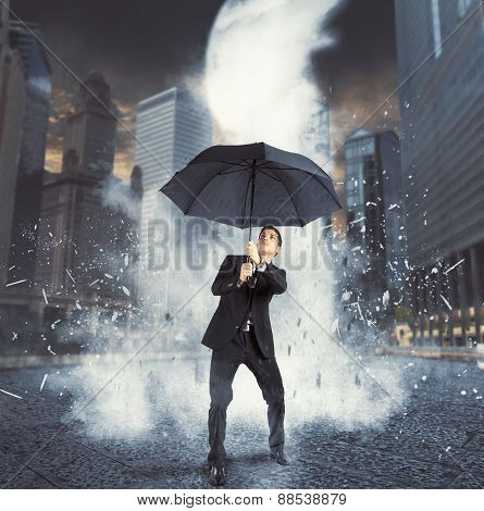 Businessman against ice flow