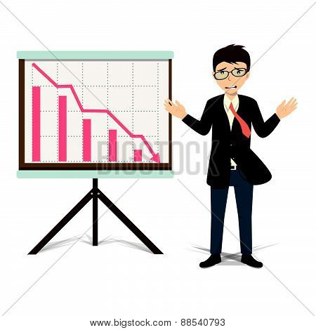 Unhappy Businessman Present Descending Business Vector Illustration