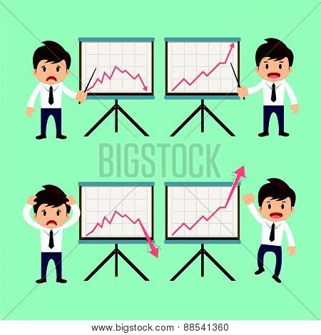 Businessman Present Growing And Present Descending Vector Illustration