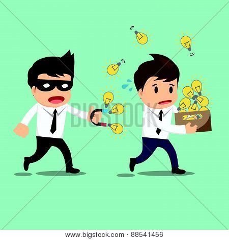 Businessman Run Thief Use Magnet Stealing Idea Vector Illustration