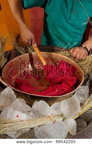 Copper bowl ice cream, traditional Ecuadorian recipe. Helado de paila