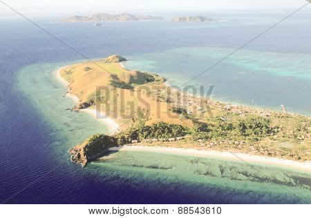Mana Island Resort, Fiji islands, aerial view,