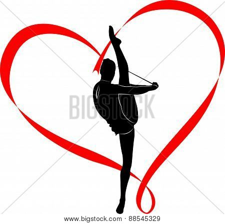 logo gymnast girl athlete in the heart of red ribbon poster