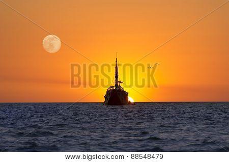 Ship Moon Sun Ocean Fantasy