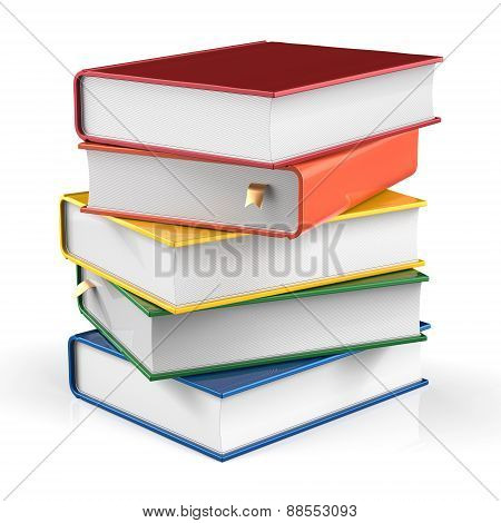 Books Stack Covers Colorful Textbook Bookmarked