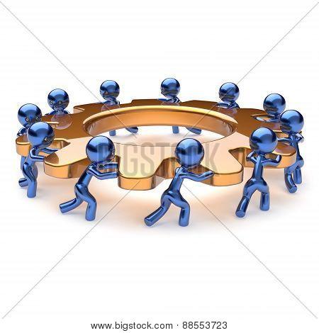 Teamwork Business Process Mans Start Turning Unity Gear