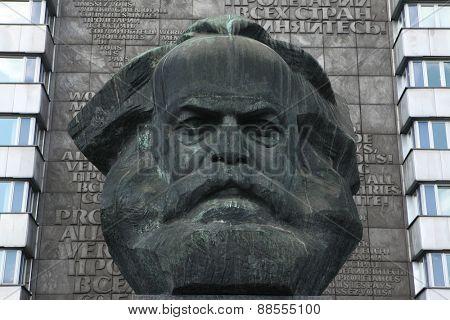 CHEMNITZ, GERMANY - MAY 8, 2012: Karl Marx Monument by Soviet sculptor Lev Kerbel in Chemnitz, Saxony, Germany.