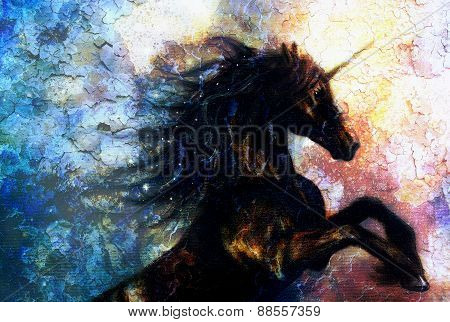 Painting Of A Black Unicorn Dancing In Space, Crackle Desert Effect