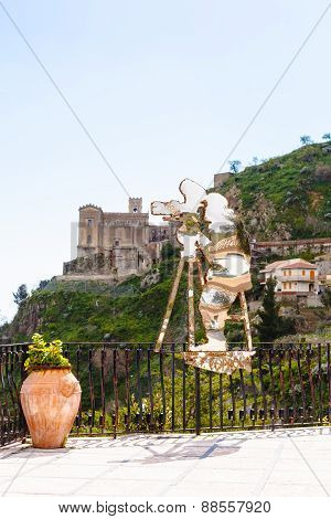 Statue Of Francis Ford Coppola In Savoca, Sicily