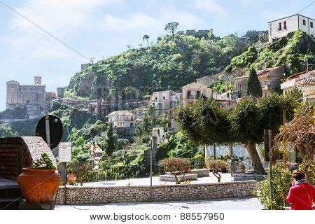 Cityscape Of Savoca Village In Sicily Mountain