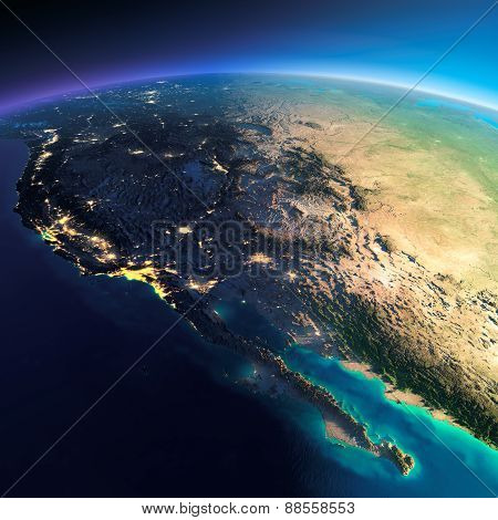 .detailed Earth. Gulf Of California, Mexico And The Western U.s. States