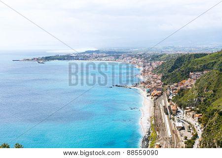 Ionian Sea Coastline And Giardini Naxos Town