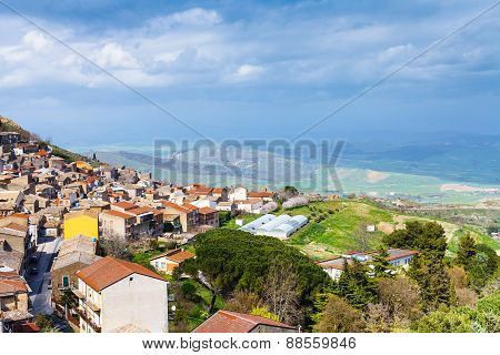 Above View Of Aidone Comune In Sicily In Spring