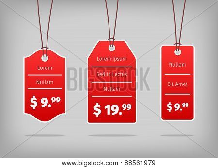 Red hanging pricing tags or labels with white prices