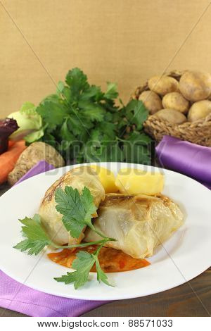 Cabbage Roulade With Potatoes And Sauce