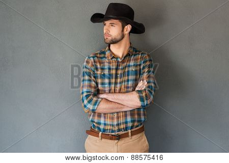 Serious And Confident Cowboy.