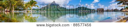 Beautiful view of Otemanu mountain on Bora Bora island. Wide panorama perfect fpr banner