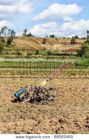 Tiller Tractor In Rice Field