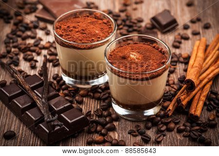 Delicious tiramisu dessert with ingredients