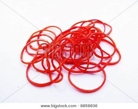 Group of Red Elastic rubber isolate on white background