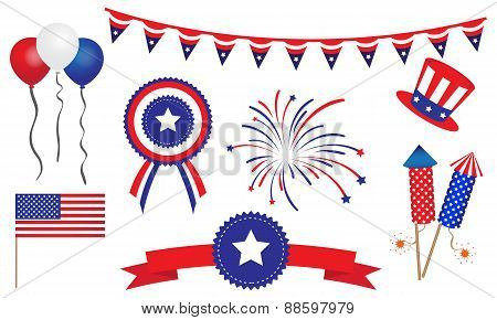 American United States 4Th Of July Badges Banner