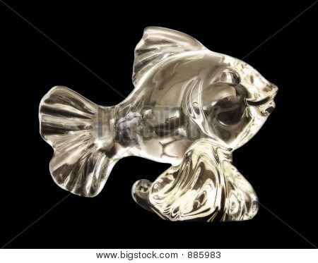 this is a macro shot of a shiny glass silver fish. poster