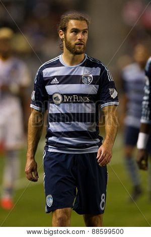 CARSON, CA. - APR 18: Graham Zusi during the L.A. Galaxy game against Sporting Kansas City on April 18, 2015 at the StubHub Center in Carson, California.