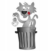 Cartoon cat scavenging for his lunch in a dustbin poster