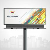 Billboard mock up for logo presentation and abstract logotype identity with urban horizon vector background poster
